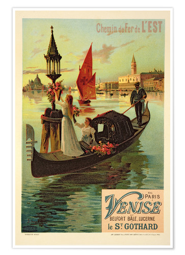Premium poster Eastern Railway from Paris to Venice
