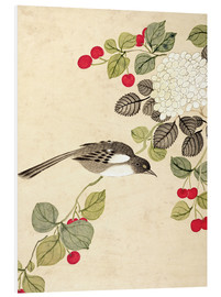 Foam board print  Birds and berries, late 19th century - Wang Guochen