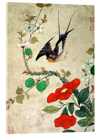 Acrylic print  Bird and apples - Wang Guochen