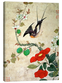 Canvas print  Bird and apples - Wang Guochen