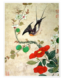 Premium poster  Bird and apples - Wang Guochen