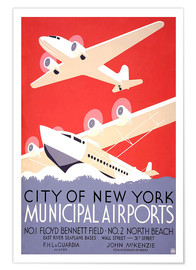Premium poster  City of New York - Municipal Airports - Travel Collection