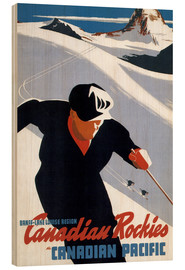 Wood print  Skiing in the Canadian Rockies - Travel Collection