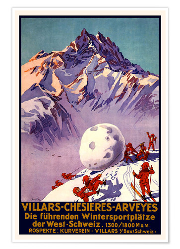 Poster Winter Sports in Villars, Chesieres and Arveyes