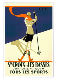Premium poster  Skiing in Sainte-Croix - Travel Collection