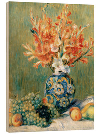 Wood print  Still Life with Fruit and Flowers - Pierre-Auguste Renoir