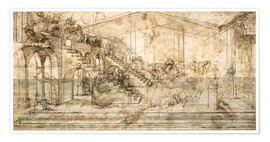 Premium poster  Perspective Study for the background of the Adoration of the Magi - Leonardo da Vinci