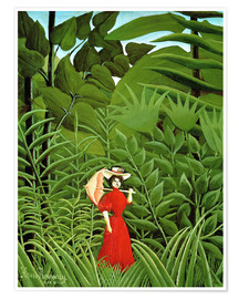 Premium poster  Woman in red in forest - Henri Rousseau