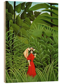 Wood print  Woman in red in forest - Henri Rousseau