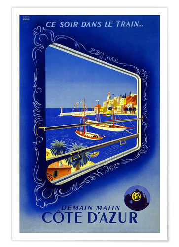 Premium poster By train to the Cote de Azur