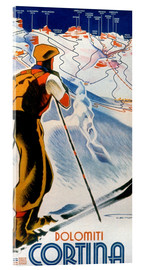 Acrylic print  Skiing in Cortina, Dolomites - Travel Collection
