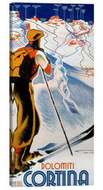 Canvas print  Skiing in Cortina, Dolomites - Travel Collection