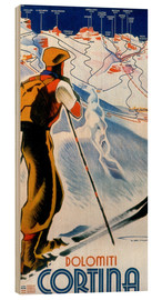 Wood print  Skiing in Cortina, Dolomites - Travel Collection