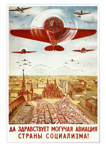 Premium poster Aircraft parade on Moscow