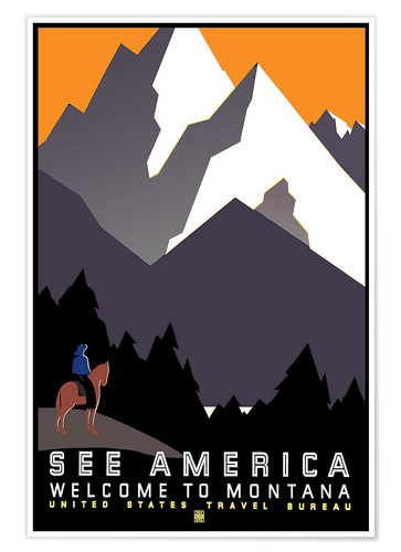 Premium poster See America - Welcome to Montana
