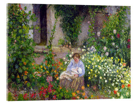 Acrylic print  Mother and Child in the Flowers - Camille Pissarro