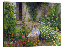 Aluminium print  Mother and Child in the Flowers - Camille Pissarro