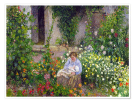 Poster  Mother and Child in the Flowers - Camille Pissarro