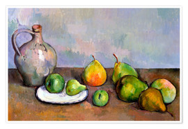 Poster  Pitcher and Fruit - Paul Cézanne
