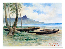 Premium poster  Diamond Head, Hawaii, 1886 - J.P. Strong