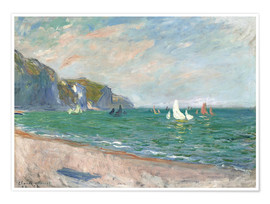 Poster  Boats under the cliffs of Pourville - Claude Monet