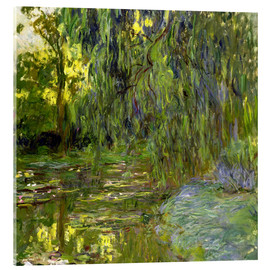 Acrylic glass  Weeping Willow, The lily pond in Giverny - Claude Monet