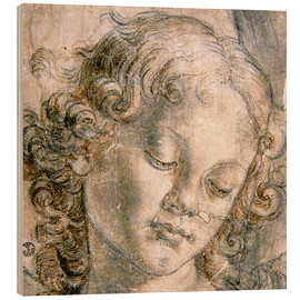 Wood  Head of the angel - Andrea Verrocchio