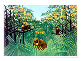 Poster  Monkey in the jungle - Henri Rousseau