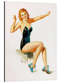 Aluminium print  Pin Up - Seated Redhead in Swimsuit - Al Buell