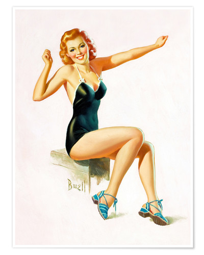 Premium poster Pin Up - Seated Redhead in Swimsuit