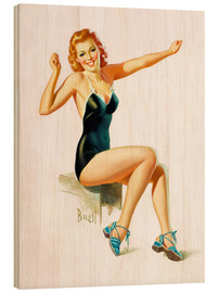 Wood print  Pin Up - Seated Redhead in Swimsuit - Al Buell