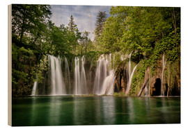 Wood print  Paradise Waterfall in Plitvice - Andreas Wonisch