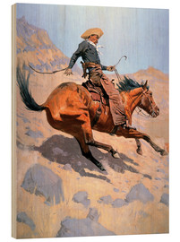 Wood print  The Cowboy - Frederic Remington