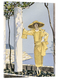 Acrylic glass  Amalfi, illustration of a woman in a yellow dress by Worth, 1922 - Georges Barbier