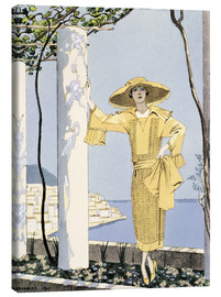 Canvas print  Amalfi, illustration of a woman in yellow dress, 1922 - Georges Barbier