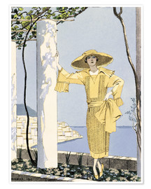 Georges Barbier - Amalfi, illustration of a woman in a yellow dress by Worth, 1922