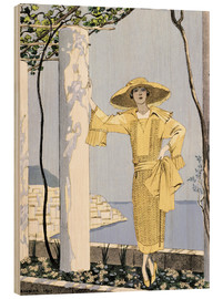 Wood print  Amalfi, illustration of a woman in yellow dress, 1922 - Georges Barbier