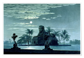 Poster Garden scene with the Sphinx in the moonlight