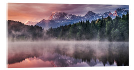 Acrylic glass  Sunrise before Alps Panorama Karwendel - Andreas Wonisch