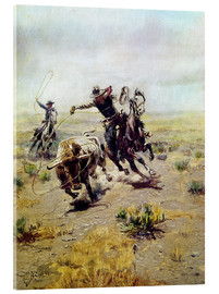 Acrylic print  Cowboy catches a bull - Charles Marion Russell