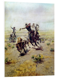 Foam board print  Cowboy catches a bull - Charles Marion Russell
