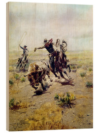 Wood print  Cowboy catches a bull - Charles Marion Russell