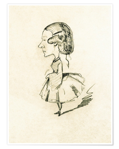 Premium poster Young girl in profile with a sharp nose, c.1858