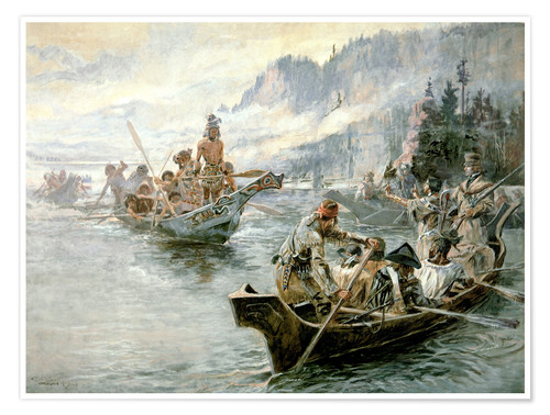 Poster Lewis & Clark on the Lower Columbia River, 1905