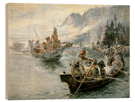 Wood print  Lewis & Clark on the lower Columbia River, 1905 - Charles Marion Russell