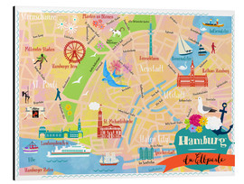Aluminium print  Colorful city map Hamburg - Elisandra Sevenstar