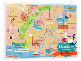 Foam board print  Colorful city map Hamburg - Elisandra Sevenstar