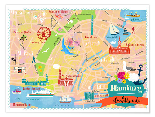 Premium poster Colorful city map Hamburg