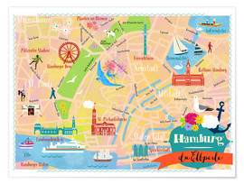 Premium poster  Colorful city map Hamburg - Elisandra Sevenstar