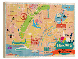 Wood print  Colorful city map Hamburg - Elisandra Sevenstar